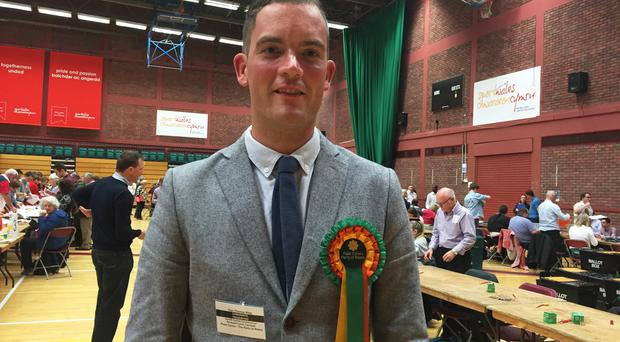 Big Brother star Glyn Wise, who is standing as a Welsh Assembly candidate for Plaid Cymru in Cardiff Central, at a count in Sophia Gardens, Cardiff.