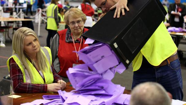 Ballots from the Scottish Parliament election are counted at the Royal Highland Centre, Ingliston, Edinburgh