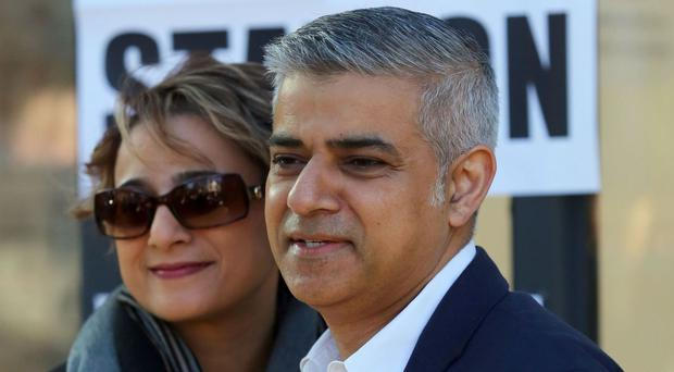 New London mayor Sadiq Khan with his wife Saadiya