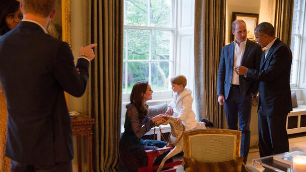 Prince George noticed his uncle Harry was unusually quiet during the visit by the Obamas (Kensington Palace/PA)