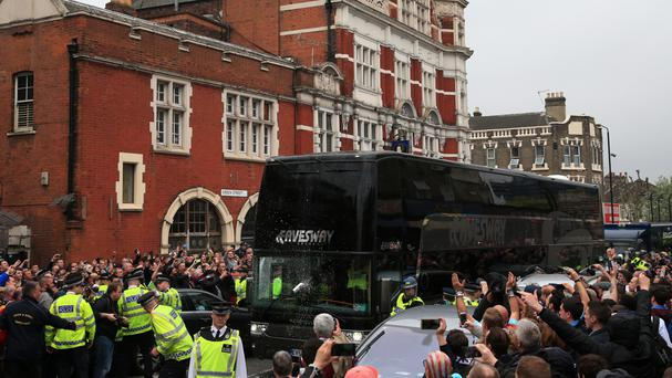 The Manchester United coach arrives for the Premier League match at Upton Park