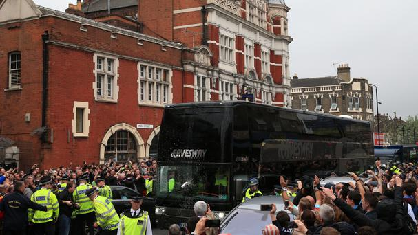 The Manchester United coach arrives for the Barclays Premier League match at Upton Park