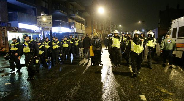 Large numbers of police officers were on patrol at the Boleyn Ground