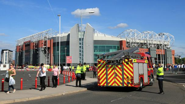 Fire engines arrived at Old Trafford after the game between Manchester United and Bournemouth was abandoned