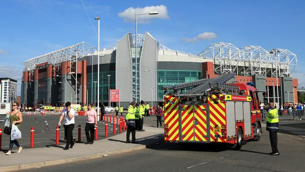 Fire engines at Old Trafford during the security alert