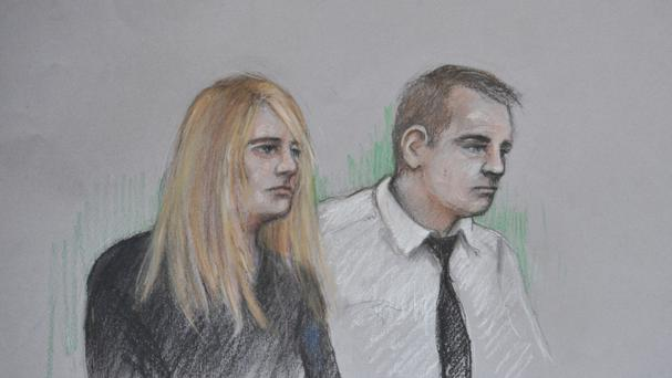 Jennie Gray and Ben Butler in the dock at the Old Bailey in London