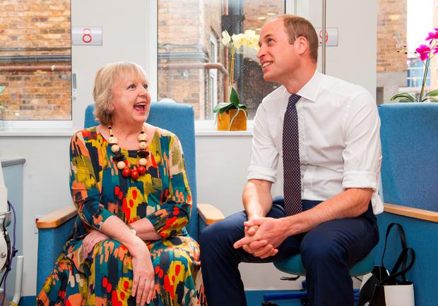 The Duke of Cambridge chats with cancer patient Sally Munton