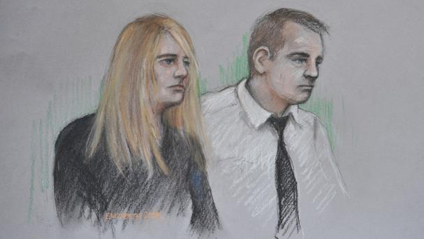 Court artist sketch of Jennie Gray and Ben Butler in the dock at the Old Bailey in London, where Butler is on trial for murdering their six year old daughter Ellie while both parents are accused of child cruelty.