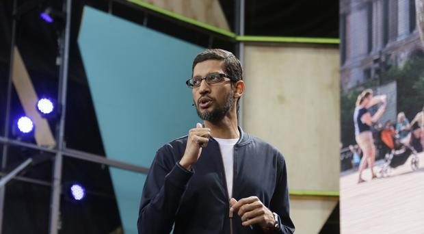 Google CEO Sundar Pichai delivers the keynote address of the Google I/O conference (AP)