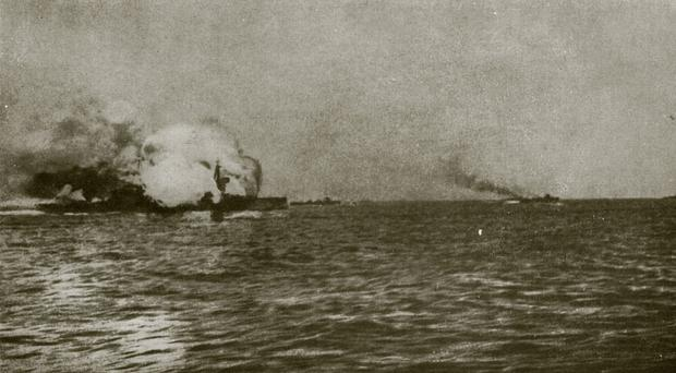 HMS Invincible blowing up during the Battle of Jutland (PA/MoD)