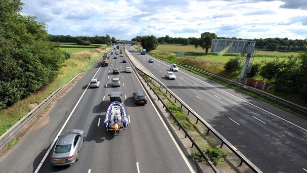 Bank Holiday traffic on the M6 in Cheshire.