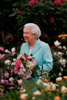 The Queen visited the Chelsea Flower Show yesterday where she saw a floral exhibit by the New Covent Garden Flower Market, which features her image