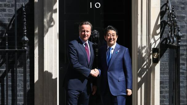 File picture dated May 5 2016, showing Prime Minister David Cameron with Japanese counterpart Shinzo Abe during his recent visit to London.
