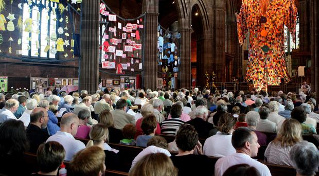 The congregation at St George's Church in Stockport