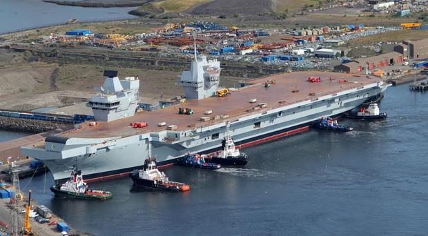 HMS Queen Elizabeth berthed at Rosyth in Fife (MoD/PA Wire)