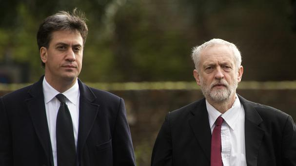 Labour leader Jeremy Corbyn, right, and former Labour leader Ed Miliband