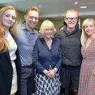 The Duchess of Cornwall with Sophie Turner, Tom Hiddleston, Chris Evans and Helen George as she joined the judging panel for the 500 Words competition
