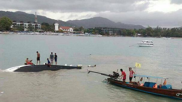 The scene near Koh Samui in Thailand after a speedboat capsized (Nalinee Siriked/Twitter/PA)