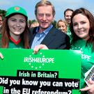 Taoiseach Enda Kelly with Kate Murphy (left) and Claire Tighe outside the Irish TV GAA Grounds in South Ruislip