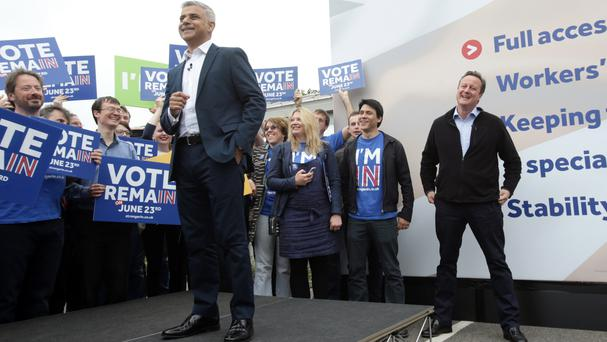 Sadiq Khan and David Cameron shared a platform to back the bid to keep the UK in the European Union