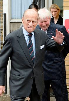 The Duke arrives at the Veterans Aid hostel in London yesterday