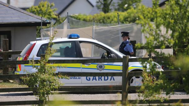 Gardai at the scene where four children were found seriously injured in County Wicklow.