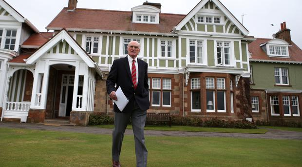Muirfield golf club captain Henry Fairweather makes an announcement on the outcome of a membership ballot on the admission of women as members