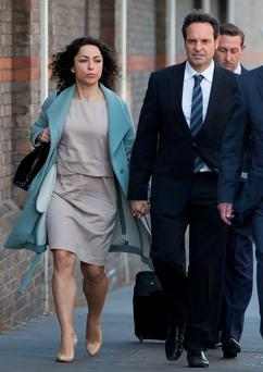 Former Chelsea doctor Eva Carneiro and her husband, polar explorer Jason De Carteret, arrive for the tribunal in London yesterdayEva C