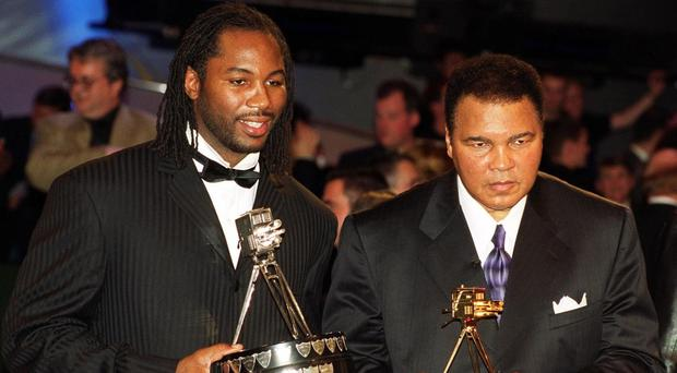 Lennox Lewis - pictured with Muhammad Ali during the BBC Sports Personality of the Year Awards - will be a pallbearer at the funeral of the US boxing champion