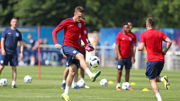 England's Jamie Vardy during a Euro 2016 training session at Stade de Bourgognes, Chantilly