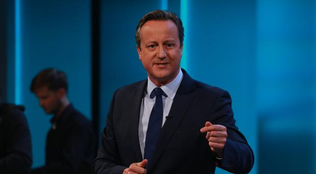 David Cameron makes a point on ITV1's Cameron and Farage Live: The EU Referendum (ITV/PA)