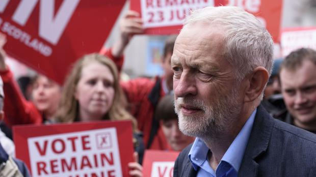 Labour leader Jeremy Corbyn during a visit to Aberdeen, as he campaigns for a remain vote in the EU referendum