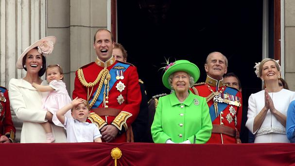 The Queen joins members of the royal family on the balcony of Buckingham Palace after they attended the Trooping the Colour ceremony