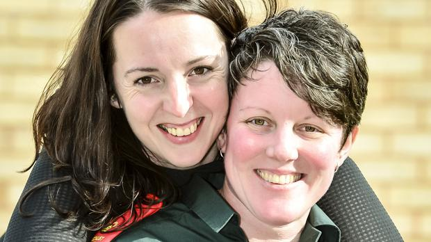 Paramedic Kath Osmond and her partner Sara Coburn at their home in Newton Abbot, Devon