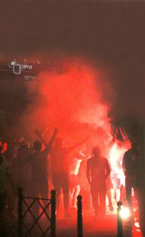 England fans light flares and taunt police in Lille