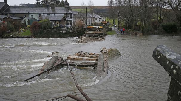 Pooley Bridge in Ullswater, Cumbria, during previous flooding