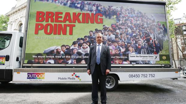 Ukip leader Nigel Farage launches a new Ukip EU referendum poster campaign in London