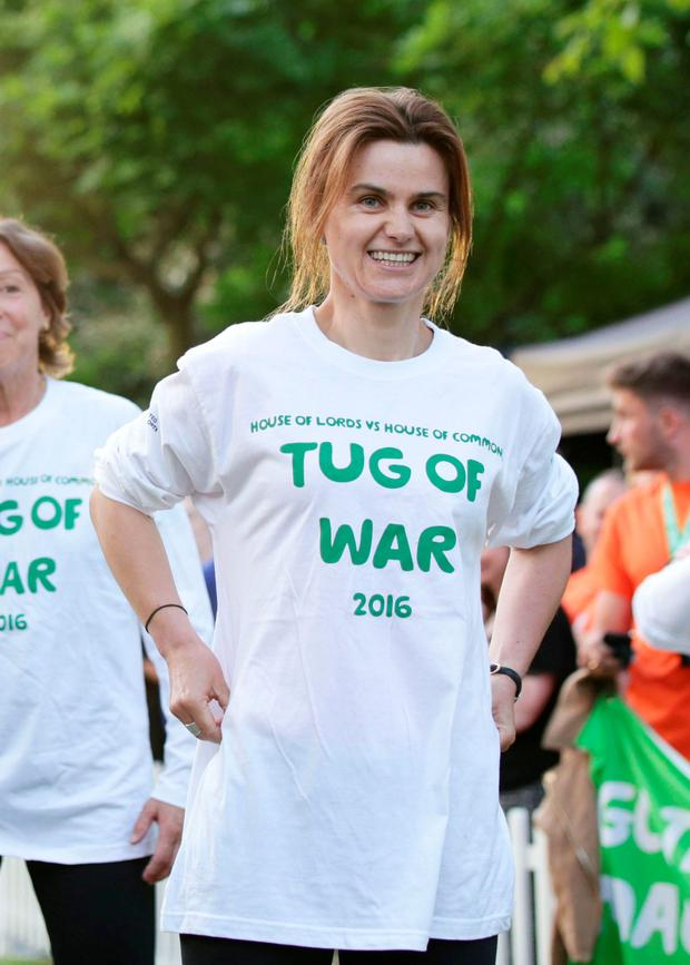 Jo Cox during a House of Lords versus House of Commons tug of war this year