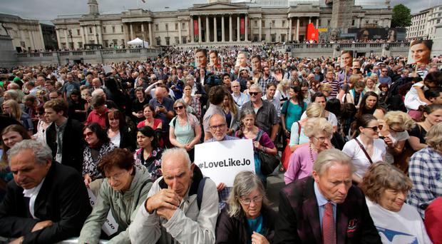 The crowd wait for the start of the rally in Trafalgar Square, central London, to celebrate what would have been the 42nd birthday of tragic MP Jo Cox