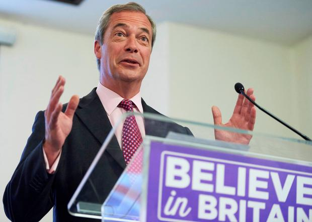 Nigel Farage delivers an anti-EU speech in London