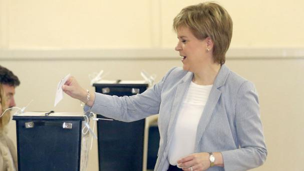First Minister Nicola Sturgeon casts her vote in the EU referendum
