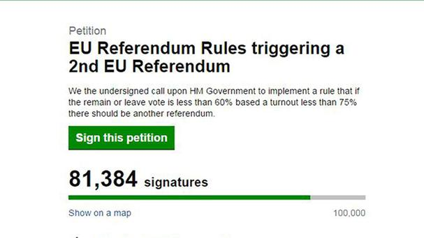 A petition called for a second EU referendum (UK Government and Parliament website/PA)