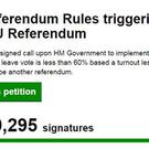 The Government petition website of a petition calling for a new EU referendum when it passed the one million barrier - it now has more than 2.6 million signatures
