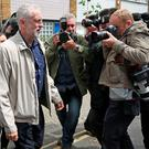 Labour leader Jeremy Corbyn leaves his house in London