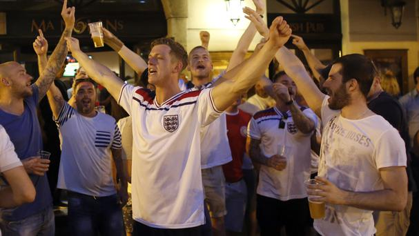 England fans gather in Nice as England prepare to play Iceland (AP)