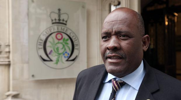 Louis Olivier Bancoult, leader of the Chagos Refugee Group, outside the Supreme Court in London