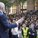 Jeremy Corbyn speaking at a Momentum event at the School of Oriental and African Studies