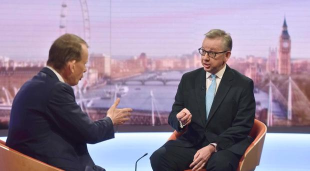 Conservative party leadership contender Michael Gove speaks to Andrew Marr (BBC/PA)