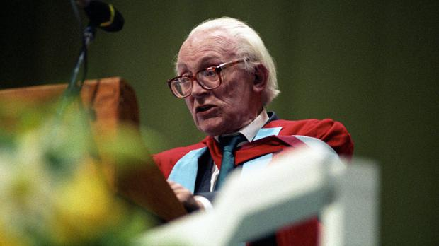 Former Labour Party leader Michael Foot, receiving his honorary degree at the University of Nottingham in 1990