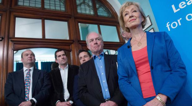 Andrea Leadsom launches her bid for the Tory leadership at The Reading Room in London, flanked by supporters